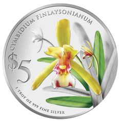 """Singapore Mint Cymbidium Finlaysonianum 2011 """"Native Orchids of Singapore"""" Series 1 oz silver proof coin"""