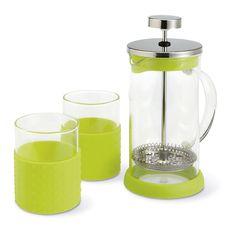 Cafetera/tetera de cristal con dos vasos. Capacidad de 350ml. Acabados de silicona. www.tusregalosdeempresa.com