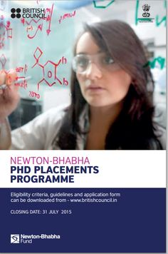 Newton Bhabha PhD placements 2015 is now open for applications. Key Dates Deadline for call of applications: 31st July 2015 Selection results announced by – By mid October 2015 Placements to be taken between: January – October 2016 For More Details: http://studyoverseasglobal.com/Contact-us ‪#‎NewtonBhabha‬ ‪#‎MYSOG‬ ‪#‎StudyOverseasGobal‬ ‪#‎PhD‬