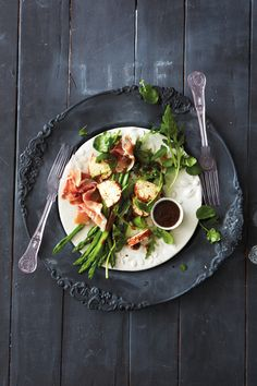 Light and delish! Asparagus and Parma ham salad with fig vinaigrette
