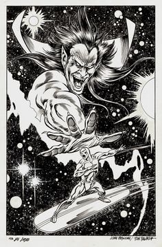 Silver Surfer: Judgment Day Illustration (Used As Basis For Cover Painting) 1988 Comic Art By Artist John Buscema