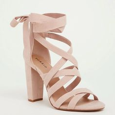 e298e37c850 Soft Pink Strappy Lace-Up Heel Sandal (Wide Width)