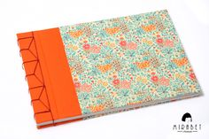 Japanese Stab Binding Book - Hardcover, blank notebook - Orange fabric and italian patterned paper with flowers - Handmade