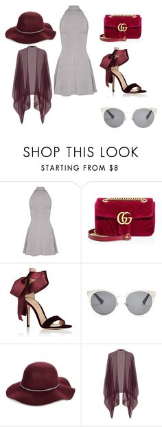 """Бархатный сезон"" by nastya-anas-mikheeva on Polyvore featuring мода, Gucci, Gianvito Rossi, Christian Dior, San Diego Hat Co. и Talbot Runhof"