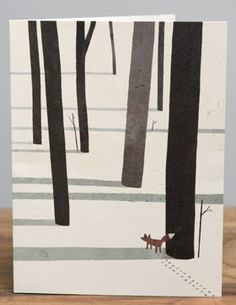Fancy - Fox in the Snow by Jon Klassen for Red Cap Cards Art And Illustration, Gravure Illustration, Illustrations, Poster Design, Art Design, Art Fox, Winter Art Projects, Art Lessons Elementary, Arts Ed