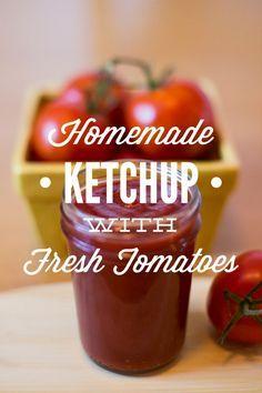 Fresh homemade ketchup - made with tomatoes, apple cider vinegar, salt, kelp powder, honey, brown mustard, worcestershire sauce, pepper, onion, and garlic