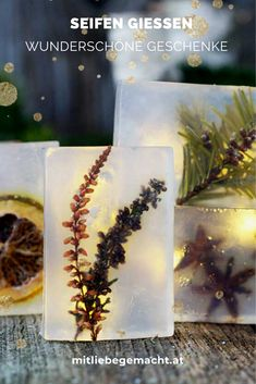 The best comes at the end - a piece of nature packed in a soap - Natural soaps based on glycerin – a wonderful gift for Christmas! Diy Presents, Christmas Presents, Christmas Diy, Diy Gifts, Xmax, How To Clean Makeup Brushes, Homemade Soap Recipes, Soap Base, Natural Make Up