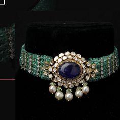 India Jewelry, Gold Jewelry, Beaded Jewelry, Jewelery, Chocker Necklace, Chokers, Pendant Set, Necklace Designs, Jewelry Collection