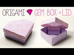 Origami box with lid/ พับกระดาษ :พับกล่องของขวัญมีฝาปิด - YouTube