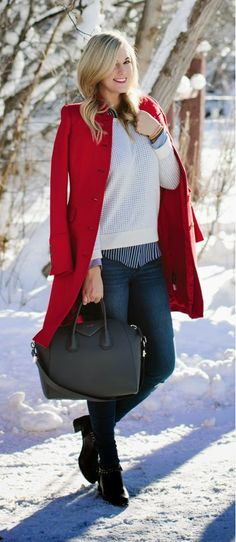 Red and Knit Causal Winter Chic / Best LoLus Street Fashion