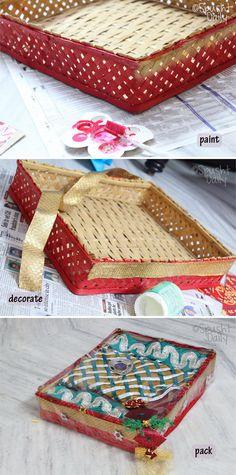 saree packing, packaging a saree, gift a saree, paper pack saree.
