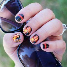 Firefighter nails!  #firefighternails ##firewife #nailfie #nbloggers ##nailart #JamberryNails #NOTD