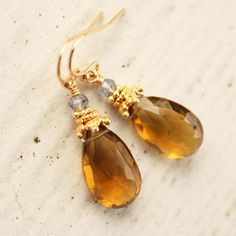 Citrine Teardrop Earrings  November Birthdays  14KT Gold by OhKuol, $50.00