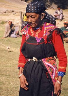 India, Himachal Pradesh, Kullu. An elderly womean dressed to the hilt at the Dussehra festival.