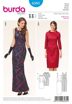 Burda 6585 - love the retro-ish look of the red one.