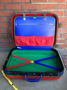 Vintage 80s United Colors of Benetton Suitcase Hard side with wheels Green Red Yellow on Etsy
