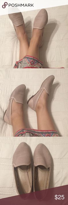 Yosi Samra Flats Get these great perforated leather pink flats for all your business's casual needs. Go great with a pair of slacks, a dress, and even jeans. Shoes are worn on inside and leather is a little weathered. Price will reflect wear. Yosi Samra Shoes Flats & Loafers