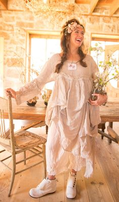 Magnolia Pearl Light Weight Linen Lilith Dress with Sewn-In Tucks and Detachable Sleeves $348 by Society Hill Designs
