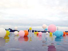 Bubblegum installation  Installation, balloons on water. In collaboration with artist Renee Reijnders. Netherlands. 2010