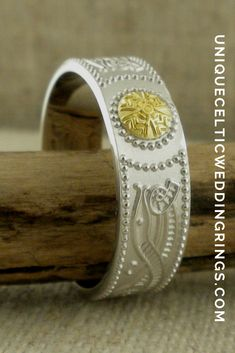 Celtic Warrior Shield Wedding Band with 18K Bead — Unique Celtic Wedding Rings Irish Wedding Rings, Wedding Bands, Celtic Warriors, Irish Celtic, Cuff Bracelets, Sterling Silver, Beads, Unique, Handmade