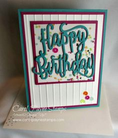 Stampin' Up! Picture Perfect Party with the Happy Birthday Thinlets Die. Handmade birthday cards. #carolpaynestamps