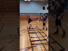Two Foot Sideways Run With Weighted Ball Catch and Throw. Physical Education, Ladder, Basketball Court, Fitness, Stairway, Physical Education Lessons, Physical Education Activities, Ladders, Gymnastics