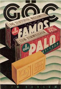"By Spitzer, 1950,  ""Göc washing powder & soap, at Konsum"" a Wienner drugstore company. (Austria)"