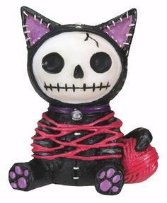 Furrybones Black Mao-Mao Skeleton in Cat Costume Halloween Figurine