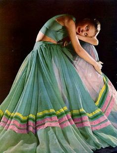 Colorful Mexican Folklorico-inspired dress by Alix Grés, 1947.... I ca think of a few folklorico companies that would like this