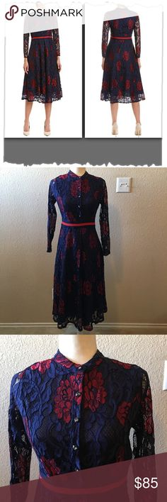 e33153833520b3 Tina Navy   Red Lace Overlay A-Line Dress