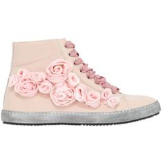 POKEMAOKE Roses Patent Leather High Top Sneakers ($306) ❤ liked on Polyvore featuring shoes, sneakers, pink, patent leather sneakers, pink sneakers, vintage shoes, hi tops and high top shoes