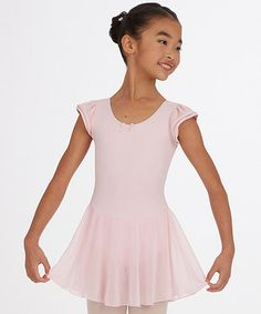 Love this Light Pink Cap-Sleeve Skirted Leotard - Girls on #zulily! #zulilyfinds
