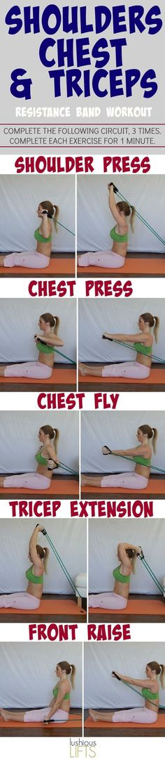 shoulders, chest and triceps resistance band workout