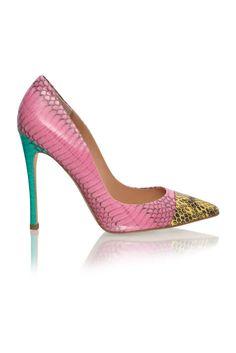 Kotur Pink, Green & Brown Snake Effekt Pumps Spring 2014 #Shoes #Heels