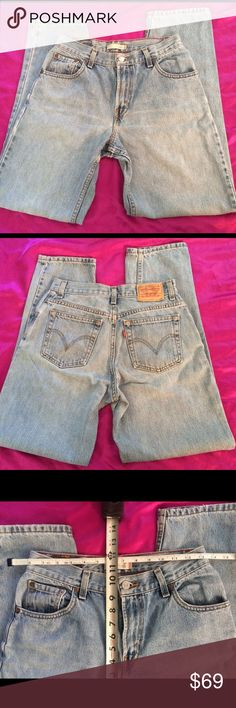 HIGH WAISTED!90's LEVI'S 550 VINTAGE JEANS 27-28 Popular 550 Levi's!! To see how they look just google 'vintage Levis high waisted jeans,' So Cute! ‼️SALE‼️❤️last pair Sold for $69!  Great pair of Vintage Levis.  Size 6. Medium.  High waisted.  Tapered leg.  Could fit 27-28. Measurements in pic show waist & inseam.  Super Cute & Stylish!!  Cut & make your own perfect length of cut off jeans shorts❤️ Tag: Closet staple!Mom jeans/boyfriend jeans. Quality! 100% Cotton Levi's Jeans