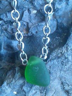 "Genuine Sea Glass Necklace Hawaii Surf. Bright Kelly Green. 19.5"" Handmade Chain…"