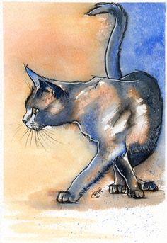 Josie P ORIGINAL WATERCOLOUR Painting Cat Cats Katze Chat £27.50