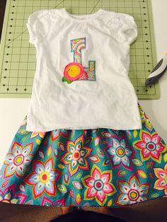 Shabby rose initial shirt and skirt