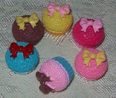 6 Cute Bow Cupcake Kawaii Decoden Cabochons by DesignsByDaffney, $3.60