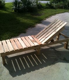 A simple chaise lounge made from 100% recycled wooden pallets. It features three settings: full recline, full up and half-way recline (shown here). Paint it or stain it as you see fit. An Ana White design.