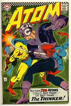 Original Gil Kane cover art to The Atom (DC, I love this cover. Using the Atom to clonk the Golden Age Atom. That's good stuff. Dc Comic Books, Vintage Comic Books, Vintage Comics, Comic Book Covers, Silver Age Comics, Atom Comics, Comics For Sale, Classic Comics, Justice League