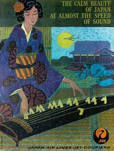 The Calm Beauty of Japan at Almost the Speed of Sound Original JAL Travel Poster