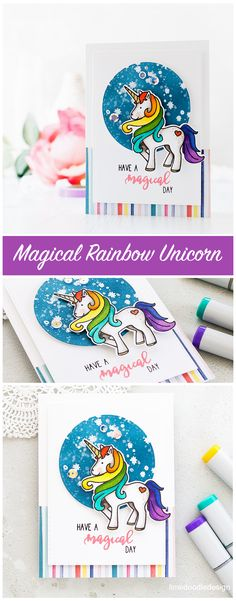 Fun and cute unicorn card by Debby Hughes using the new Magical Day set from Neat & Tangled. Find out more about this card by clicking on the following link: http://limedoodledesign.com/2017/05/magical-rainbow-unicorn/
