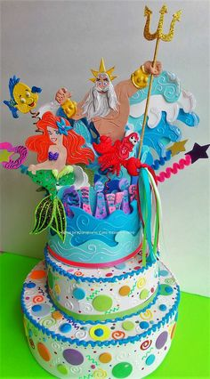 Birthday Cake Topper Mermaid Sea Animals Mermaids party centerpiece