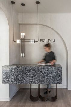 Ficurini Concept Store by Normless architecture studio - The Greek Foundation Reception Desk Design, Lobby Reception, Reception Counter, Office Reception, Office Interior Design, Office Interiors, Interior Modern, Interior Architecture, Design Offices