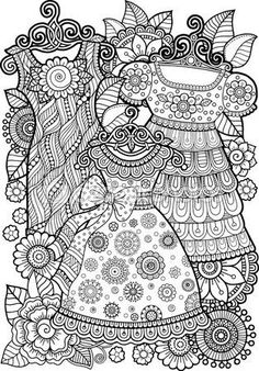 Hand Draw Vector Doodle Coloring Page For Adult
