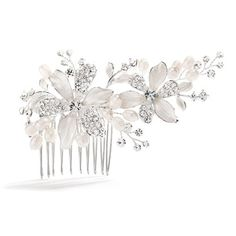 Brushed Silver Floral Wedding Comb with Freshwater Pearls & Crystals Glistening 4 w x 2 bridal comb features two graceful flowers with brushed silver leaves and pave crystal leaves. Wedding Hair Flowers, Hair Comb Wedding, Wedding Hair And Makeup, Flowers In Hair, Floral Wedding, Silver Flowers, Wedding Veils, Wedding Dress, Flower Hair Accessories