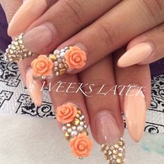 Nude Rose Almond Nails 3 weeks later! @nailsyulieg (yulie Gonzalez) 's Instagram photos