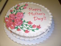 "Mother's Day Cake - This is one of my first cakes. I made this during Wilton's Course 1. It's an 8"" chocolate cake with BTC icing.....I haven't mastered no crumbs or smooth icing yet!"