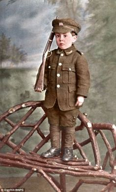 Rowland Hill posing for a photograph in 1914 - such photos were common at the outbreak of the war when patriotism and national fervour swept country